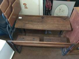 Old, oak school desk