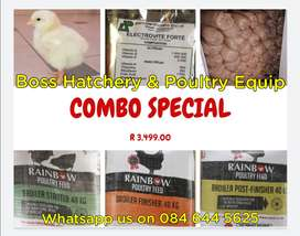 Combo Deal - Day Old Broiler Chicks, Feed, Saw Dust and Vitamins