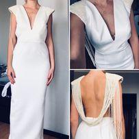 Suknia ślubna wieczorowa piekut światły V neck plecy zdobienie S lou