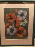 Ромашки и маки рисунок пастелью