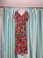Летнее нарядное праздничное платье сарафан в пол большой размер 48 50