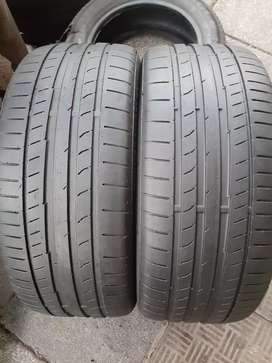 A pair of 225/40/18 continental tyres for Audi A3 and golf5