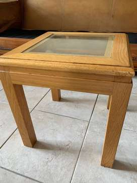 Glass and oak side table