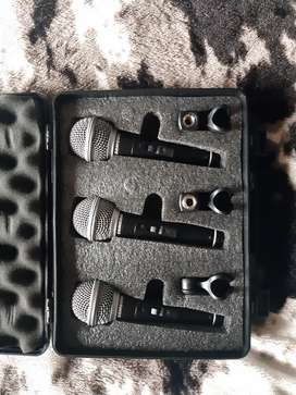 Microphones and mixer. Equipment to record audio for songs or podcasts