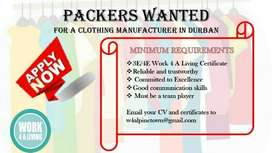Packers wanted for a clothing manufacturer in Durban