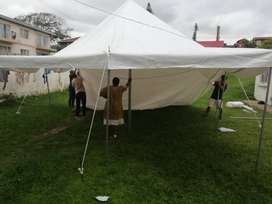5x10 Heavy Duty Peg & Pole Tent with equipment, 40 chairs, 1 table