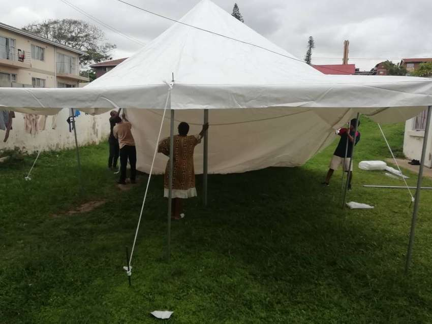 5x10 Heavy Duty Peg & Pole Tent with equipment, 40 chairs, 1 table 0