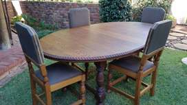Antique Dining Room Suite - Table With Four Chairs