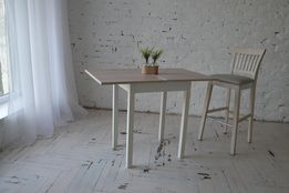 Стол раскладной для маленькой кухни с деревянными ногами 60Х50(100х60)