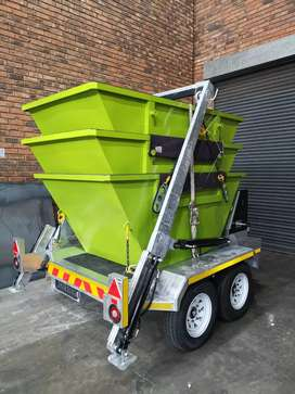 Macnay mini skip trailer and three containers