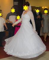 Piękna biała suknia ślubna - rozmiar 38 40 42 - koło, pokrowiec gratis