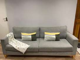 4 seater grey couch and ottoman