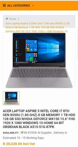 NEW ACER ASPIRE 5 INTEL CORE I7 8TH GEN HIGH SPEC GAMING MACHINE