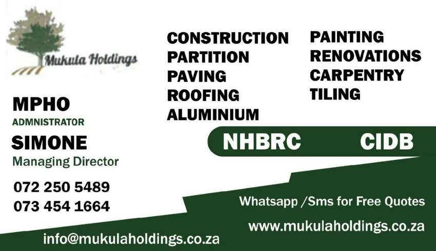 Mukula holdings@Construction and Renovations your partner in projectss 0