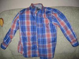 Рубашка в клетку, синий с оранжевым, р. 134.