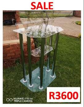Double Top Clear And Clear Base 6 Silver Leg Pulpit