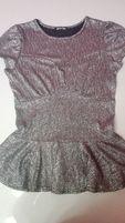 srebrna, ŚWIECĄCA BASKINKA bluzka damska z krótkim rękawem r. M 38