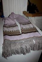 Шарф зимний длинный с оленями голубой и нежно розовый