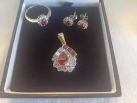Ruby, Diamond and Gold Pendant, Ring and Earings