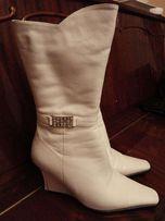 Сапоги женские белые кожаные 37 размер
