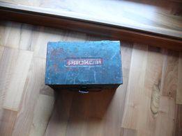Dwie stare skrzynki metalowe, pojemnik PROKOM
