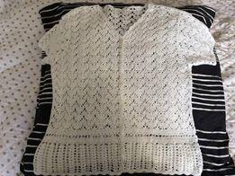 Ażurkowy biały sweterek bolerko, M lub L