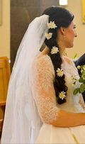 Gładki długi welon ślubny (5 metrów)