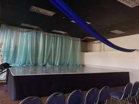 Stage and lighting for hire.