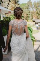 Koronkowa suknia ślubna z podpinanym trenem Ronald Joyce Ella 69007