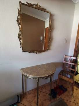Antique French Entryway Mirror and Table