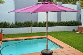 Patio Umbrella 2x3m + Cover + 50kg Base with Wheels