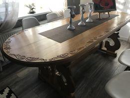 Дубовый большой обеденный стол, деревянный антиквариат
