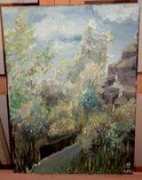 Картина 30х40. Масло. Пейзаж с водопадом. Сай М. В.
