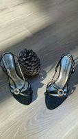 Buty sandały czarne rozmiar 38 szpilki