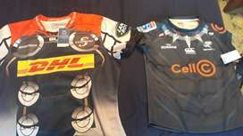 Thor themed Stormers jersey and Black Panther Sharks themed jersey and