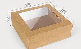 Коробка подарочная крафт картон с окном 180*180*60