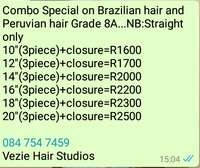 Image of Brazilian hair and Peruvian hair Grade 8A