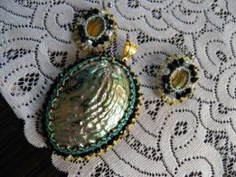 Komplet biżuterii, muszla Paula,beading