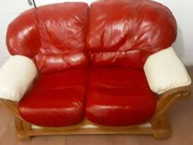 2 leather seater with pine finishing