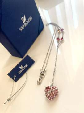 Swarovski necklace, pink and red crystal heart