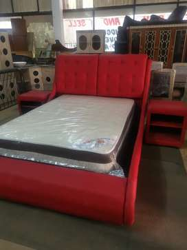 Red Leather bed set headboard