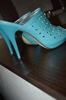 Модные красивые шлепанцы на каблуке женские размер 35-36