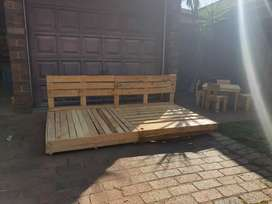 Multi purpose hand made wooden bed