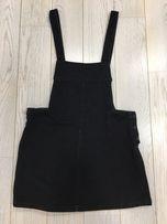 Spódnica czarna na szelkach Zara ogrodniczka