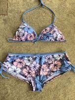 Strój kąpielowy dwuczęściowy śliczny wzór, spodenkowy majtki.