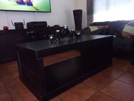 Mahogany solid wood center table and plasma stand.