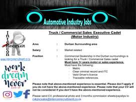 Truck / Commercial Sales Executive Cadet (Motor Industry)