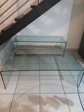 Clear glass coffee table and tv stand for sale