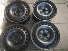 A set of 16 inch steel rims for VW kombi