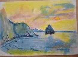 Картина восход солнца пастель